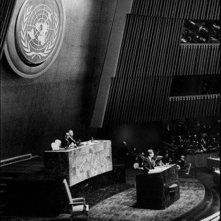 New York City. 1961. US President John Fitzgerald KENNEDY at United Nations headquarters. art for sale