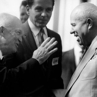 Washington DC. The Soviet premier Nikita Khrushchev and US President Dwight D. Eisenhower. 1959. art for sale