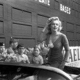 "Bob Henriques, NYC. 1959. Marilyn Monroe visiting Ebbets Field, she was in New York for the opening of her film ""Some like it hot"" by Billy Wilder."