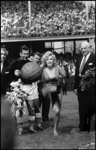 New York City. US actress Marilyn Monroe opening the USA-Israel Football International at Ebbets Field, home of the Brooklyn Dodgers. 1959., by &lt;a href=&#39;/site-admin/artists/artist/1121&#39;&gt;Bob Henriques&lt;/a&gt;