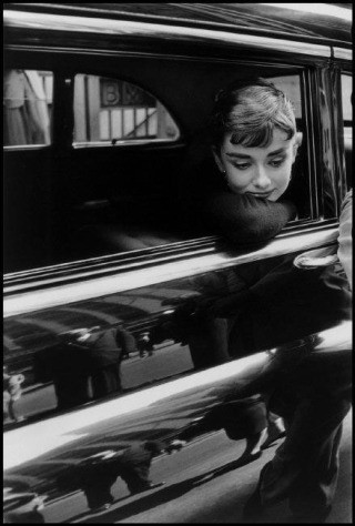 "USA. New York, NY. 1954. Dutch actress Audrey Hepburn during the filming of ""Sabrina"" by Billy Wilder., by Dennis Stock"
