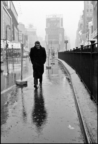 USA. New York City. 1955. James Dean haunted Times Square. For a novice actor in the fifties this was the place to go. The Actors Studio, directed by Lee Strasberg, was in its heyday and just a block away., by Dennis Stock