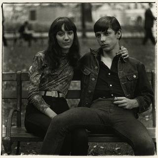 Young Couple on a Bench in Washington Square Park, N.Y.C. art for sale