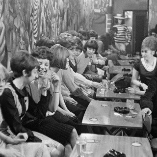 England. Liverpool. Youth at the Blue Angel beat club. 1964. art for sale