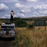George Rodger, Uganda. 1958. Queen Elizabeth National Park. 'Elephants have Right Of Way' sign on crater lake track in the Queen Elizabeth National Park.