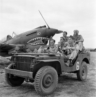 Mingladon Air field, near Rangoon (Yangon). World War II. The Flying Tigers. Pilots Newkirk, Gesselbracht, Howard (front seat), Bartling and Lather (back seat). 1942, by George Rodger