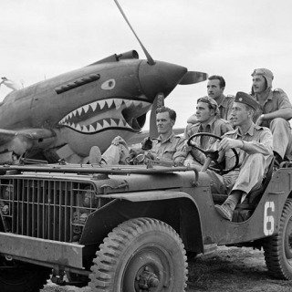 Mingladon Air field, near Rangoon (Yangon). World War II. The Flying Tigers. Pilots Newkirk, Gesselbracht, Howard (front seat), Bartling and Lather (back seat). 1942 art for sale