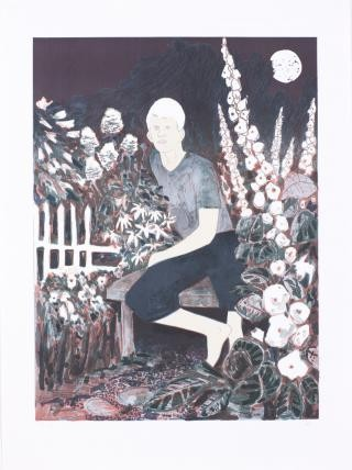 The Albino in the Moonlight Garden, by <a href='/site-admin/artists/artist/273'>Hernan Bas</a>
