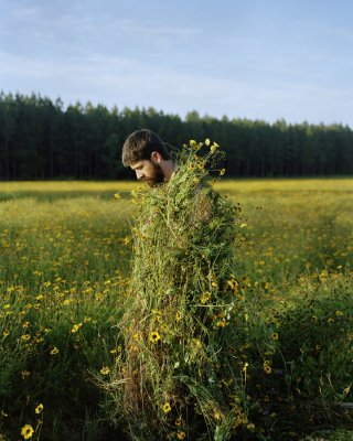 Jeremy Chandler Eric in a Ghillie Suit (Flowers) art for sale