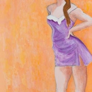Woman in Lavender Slip art for sale