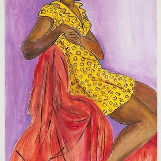 Woman in Yellow Printed Dress art for sale