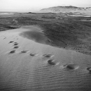 Peru. Ica. November 21, 2010. Human imprints are left on a sand dune in the remote Ocucaje Desert in southern Peru art for sale