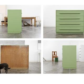 4 Photographs of 4 Sides of a Green Chest of Drawers (cameras the same distance from each side) With Kevin art for sale