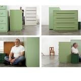 Roy McMakin, 4 Photographs of 4 Sides of a Green Chest of Drawers (cameras the same distance from each side) With Myself and Two Other Green Chests and Mike in the Background