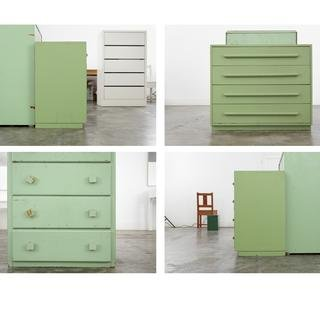 4 Photographs of 4 Sides of Green Chest of Drawers (cameras the same distance from each side) With Another Green Chest art for sale