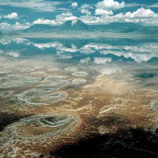 Tanzania. Lake Natron. Mineral deposits. 2000. art for sale