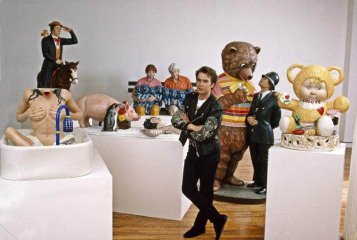1989. Jeff Koons with collection of his sculptures in New York. , by Thomas Hoepker