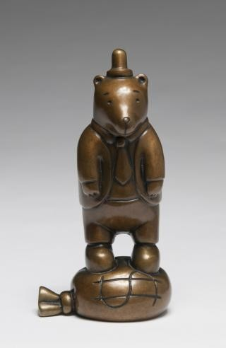 Tom Otterness Dressed Up Bear On Money Bag art for sale
